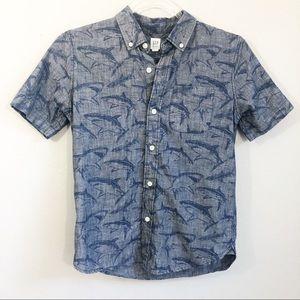 GAP   Boys Short Sleeve Button Up Blue Shark Shirt